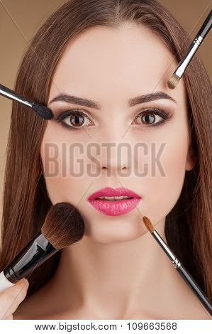 Attractive young woman is attending beauty salon