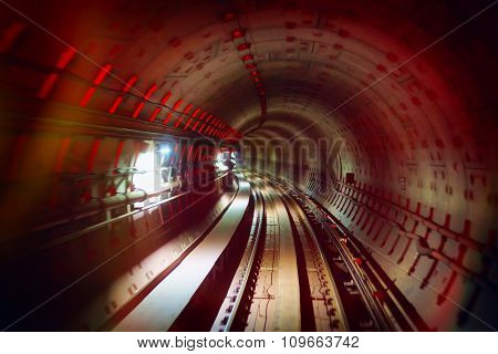 Underground Railway Tunnel With Colorful Lights