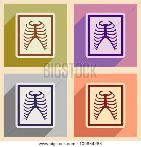 Icons of assembly X-rays of ribs in flat style