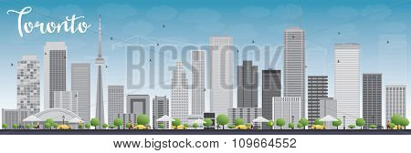 Toronto skyline with grey buildings and blue sky. Business travel and tourism concept with modern buildings. Image for presentation, banner, placard and web site.