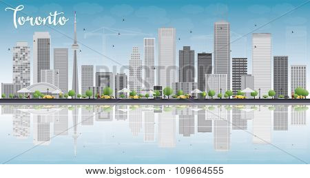 Toronto skyline with grey buildings, blue sky and reflection. Business travel and tourism concept with place for text. Image for presentation, banner, placard and web site.