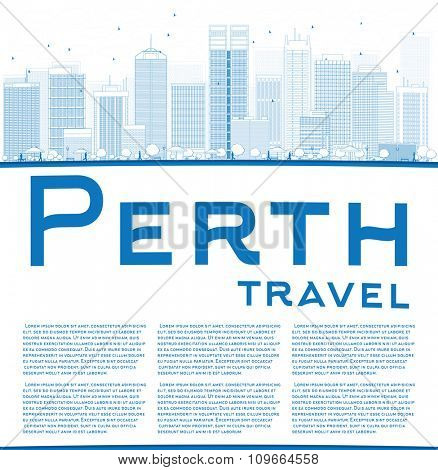 Outline Perth skyline with blue buildings and copy space. Business travel and tourism concept with place for text. Image for presentation, banner, placard and web site.