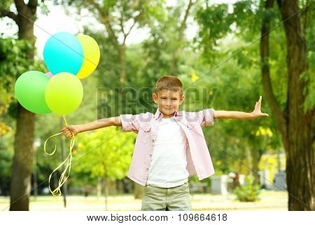 Little boy with balloons in the park