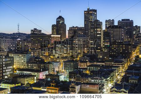 SAN FRANCISCO, CALIFORNIA, USA - January, 13, 2013:  Dusk view of Nob Hill and downtown San Francisco.
