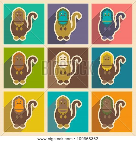 Set flat icons with long shadow happy monkey
