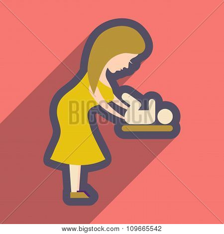 flat icon with long shadow mother and child