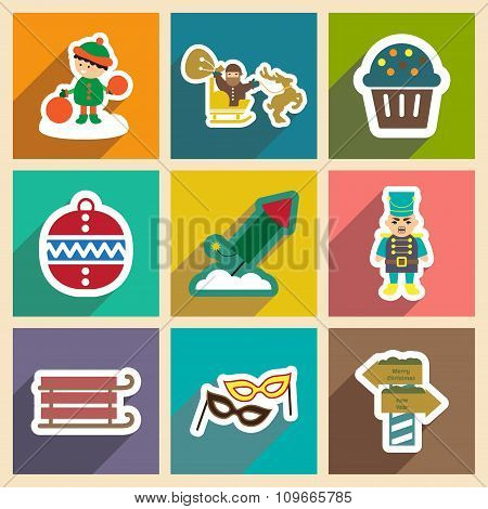 Set flat icons with long shadow New Year's and Christmas