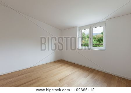 interior of new apartment, empty room with window, parquet floor