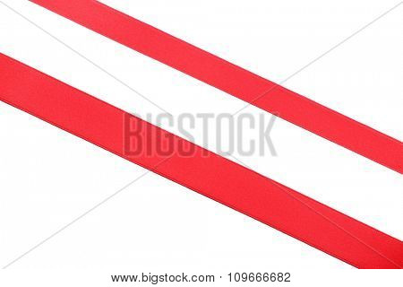 two red diagonal ribbons, isolated on white