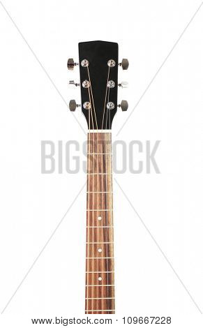 Neck of guitar isolated on white