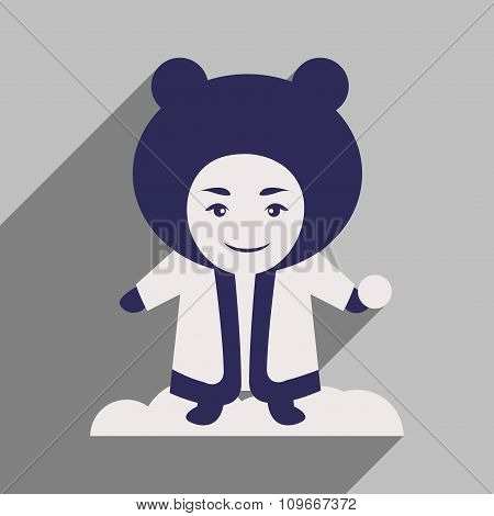 flat icon with long shadow child playing snow