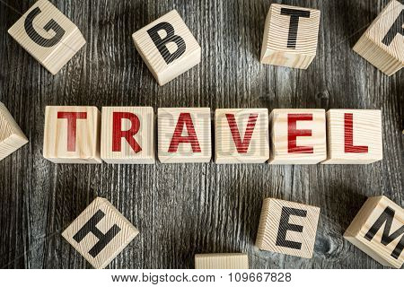 Wooden Blocks with the text: Travel