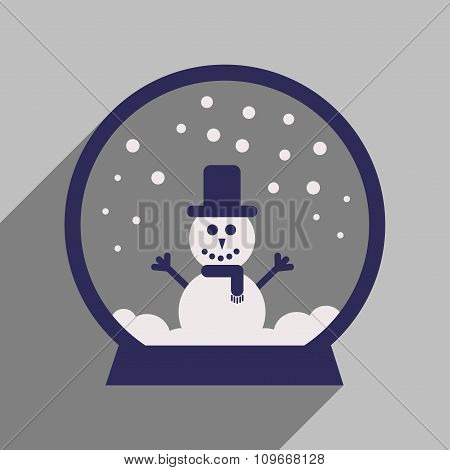 flat icon with long shadow Snowman snow globe