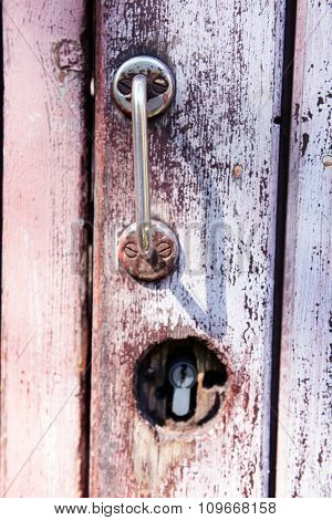 Close up view on door handle and lock
