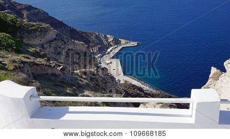 View Of Volcan Caldera In Athinios On Santorini