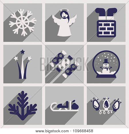 Set of flat icons with long shadow Christmas