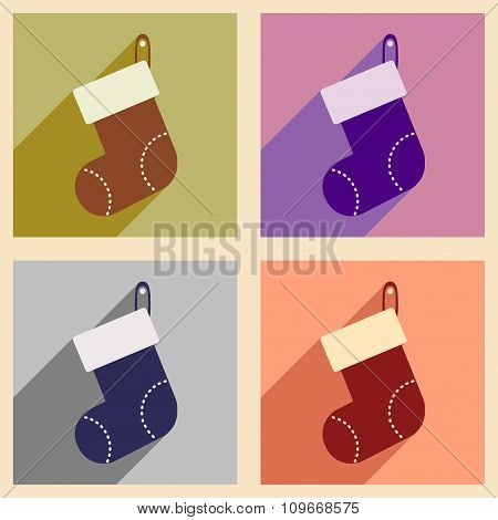 Set of flat icons with long shadow Santa's sack