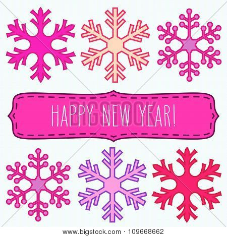 Snowflakes And New Year Greetings