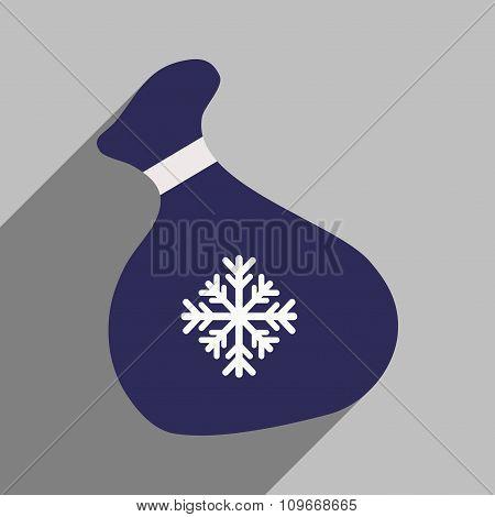 flat icon with long shadow Santa's sack