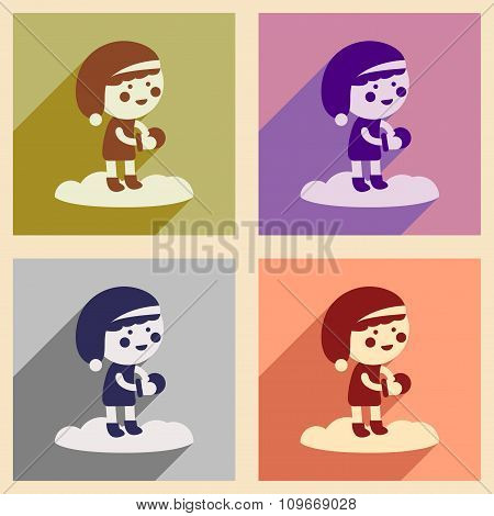 Set of flat icons with long shadow boy playing snowballs
