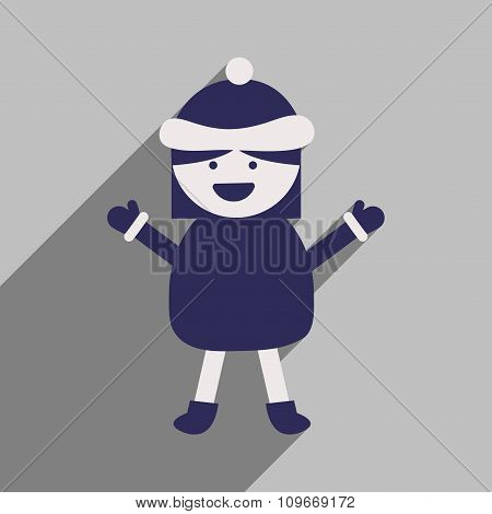 flat icon with long shadow Girl in winter clothes