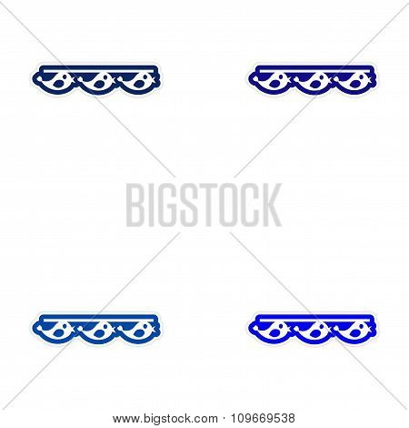 Set of paper stickers on white background garland birds