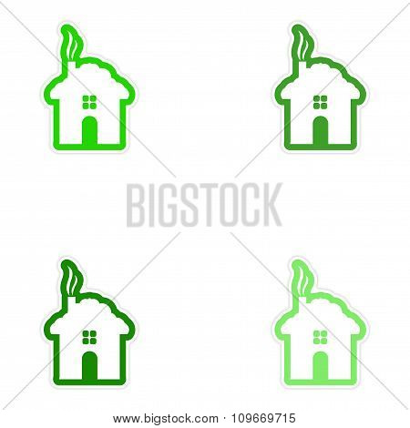 Set of 4 paper stickers on white background - house snow