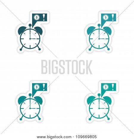 Set of 4 stylish sticker on paper alarm clock money
