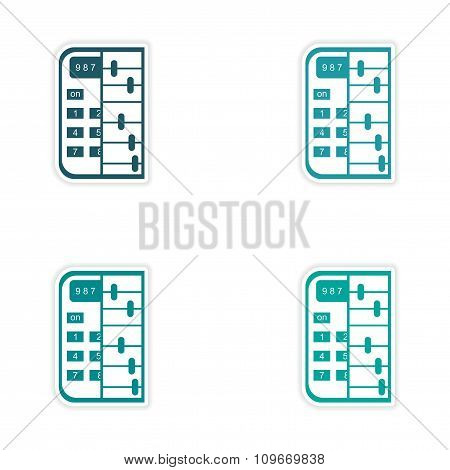 Set of 4 stylish sticker on paper calculator and abacus
