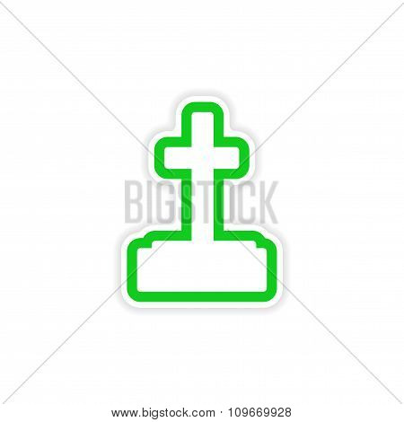 icon sticker cross design on paper grave