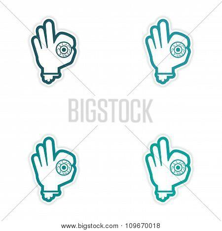 Set of 4 sticker design on paper - Hand zombie eyes