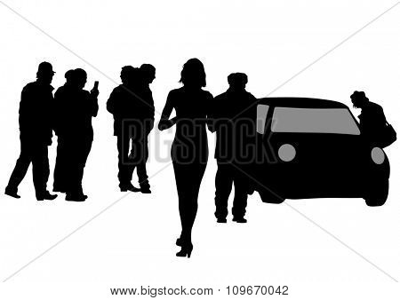 Couple of young guy and girl and car on white background
