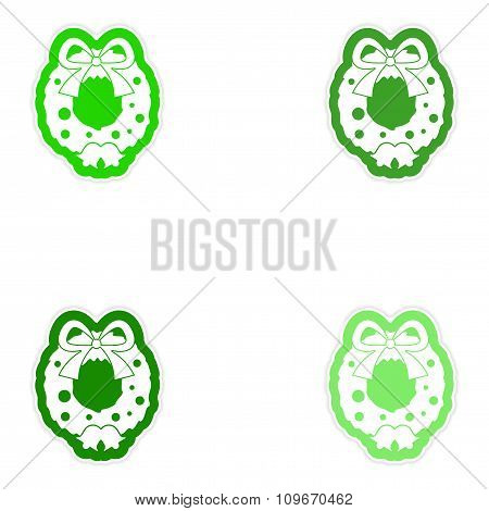 Set of paper stickers on white background Christmas wreath