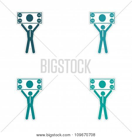 Set of stylish sticker on paper man holding banknote