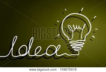 Abstract image with drawn light bulb on green background