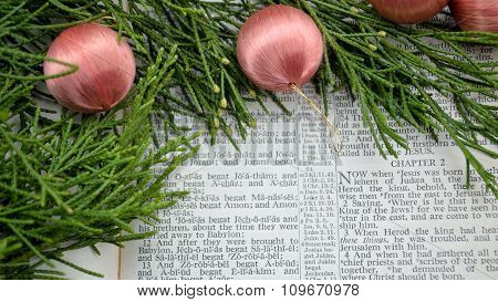 Christmas Story And Greenery With Pink Ornaments