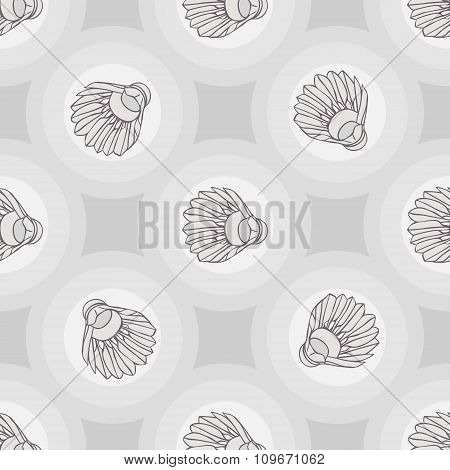 Seamless badminton ball pattern, shuttlecock seamless background