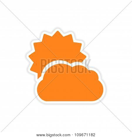 icon sticker realistic design on paper sun cloud