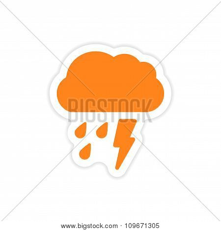 icon sticker realistic design on paper rain cloud lightning