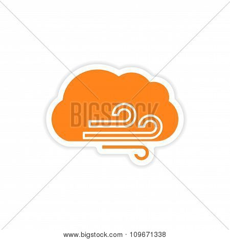 icon sticker realistic design on paper cloud wind