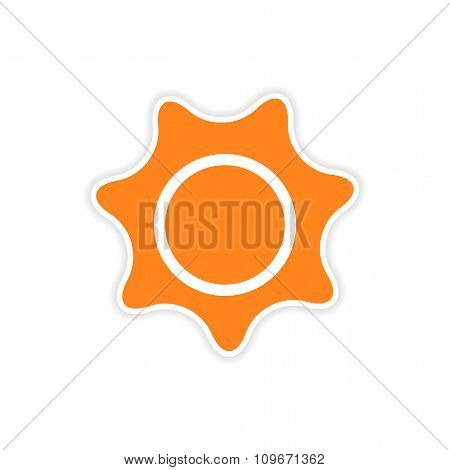 icon sticker realistic design on paper sun