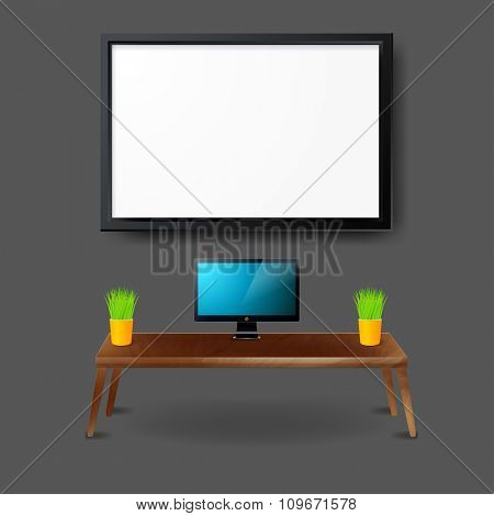 Mockup modern workplace Interior template. Layout template. Office