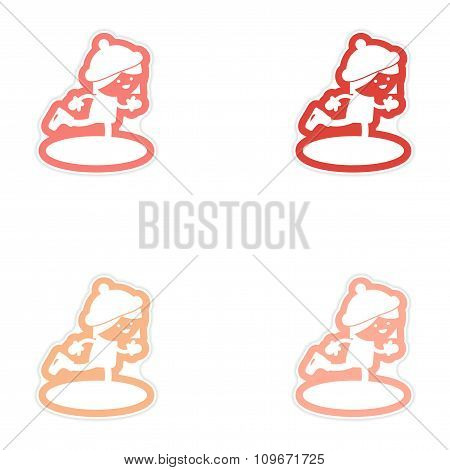 Set of paper stickers on white background Girl skates