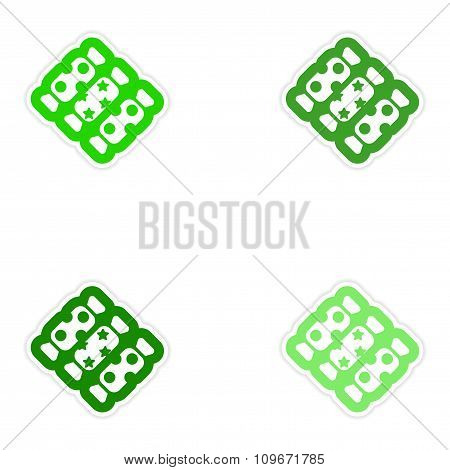 Set of paper stickers on white background chocolate candies