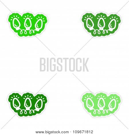 Set of paper stickers on white background garland lights