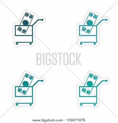 Set of stylish sticker on paper money in trolley