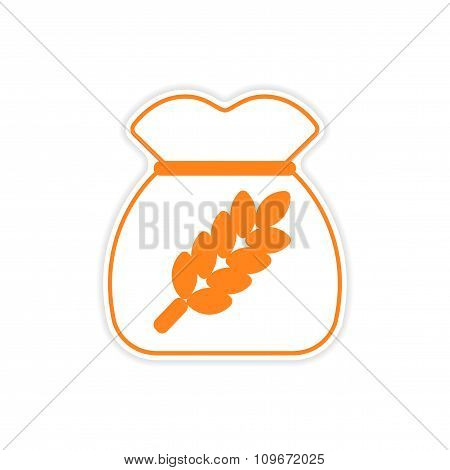 icon sticker realistic design on paper bag wheat
