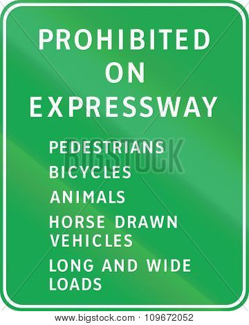 Road Sign In The Philippines - Prohibited On Expressway