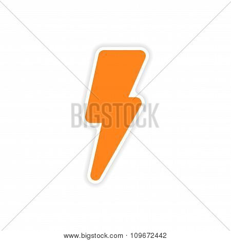 icon sticker realistic design on paper lightning bolt icon