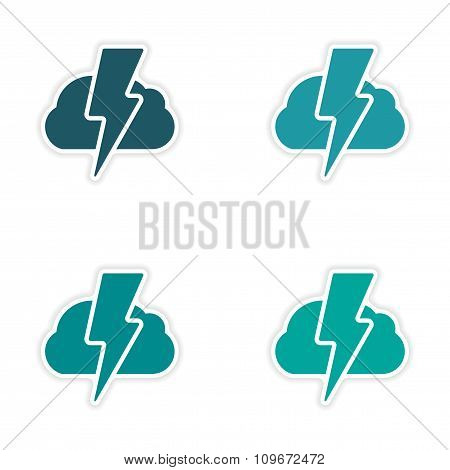 assembly realistic sticker design on paper lightning cloud